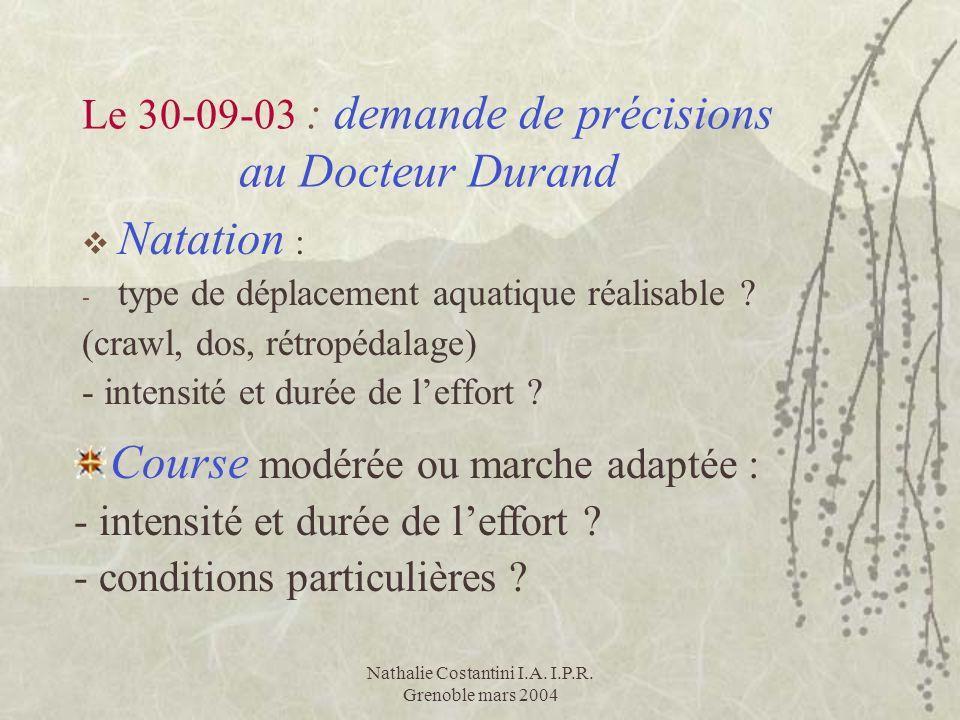 Nathalie Costantini I.A. I.P.R. Grenoble mars 2004 Le 30-09-03 : demande de précisions au Docteur Durand Natation : - type de déplacement aquatique ré