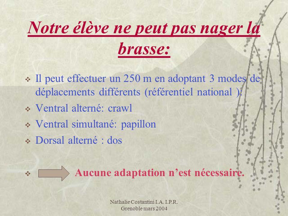 Nathalie Costantini I.A. I.P.R. Grenoble mars 2004 Notre élève ne peut pas nager la brasse: Il peut effectuer un 250 m en adoptant 3 modes de déplacem