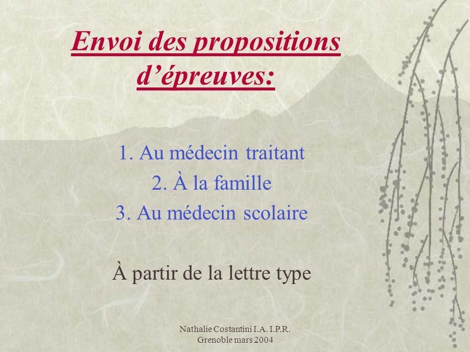 Nathalie Costantini I.A. I.P.R. Grenoble mars 2004 Envoi des propositions dépreuves: 1. Au médecin traitant 2. À la famille 3. Au médecin scolaire À p