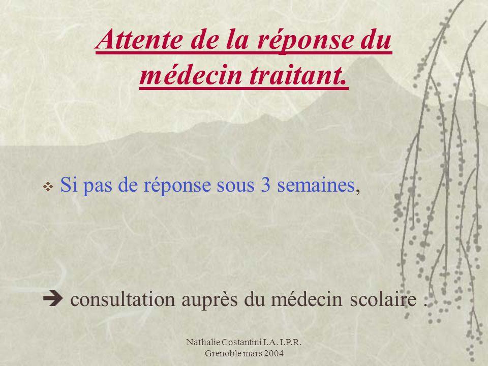 Attente de la réponse du médecin traitant. Si pas de réponse sous 3 semaines, consultation auprès du médecin scolaire.