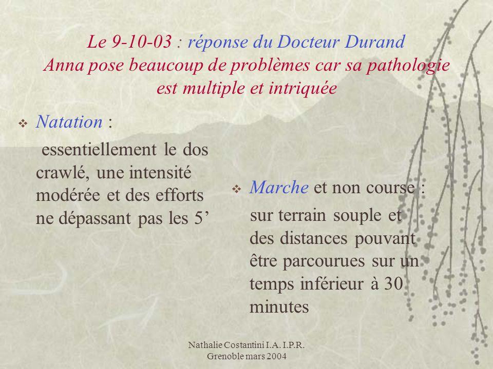 Nathalie Costantini I.A. I.P.R. Grenoble mars 2004 Le 9-10-03 : réponse du Docteur Durand Anna pose beaucoup de problèmes car sa pathologie est multip