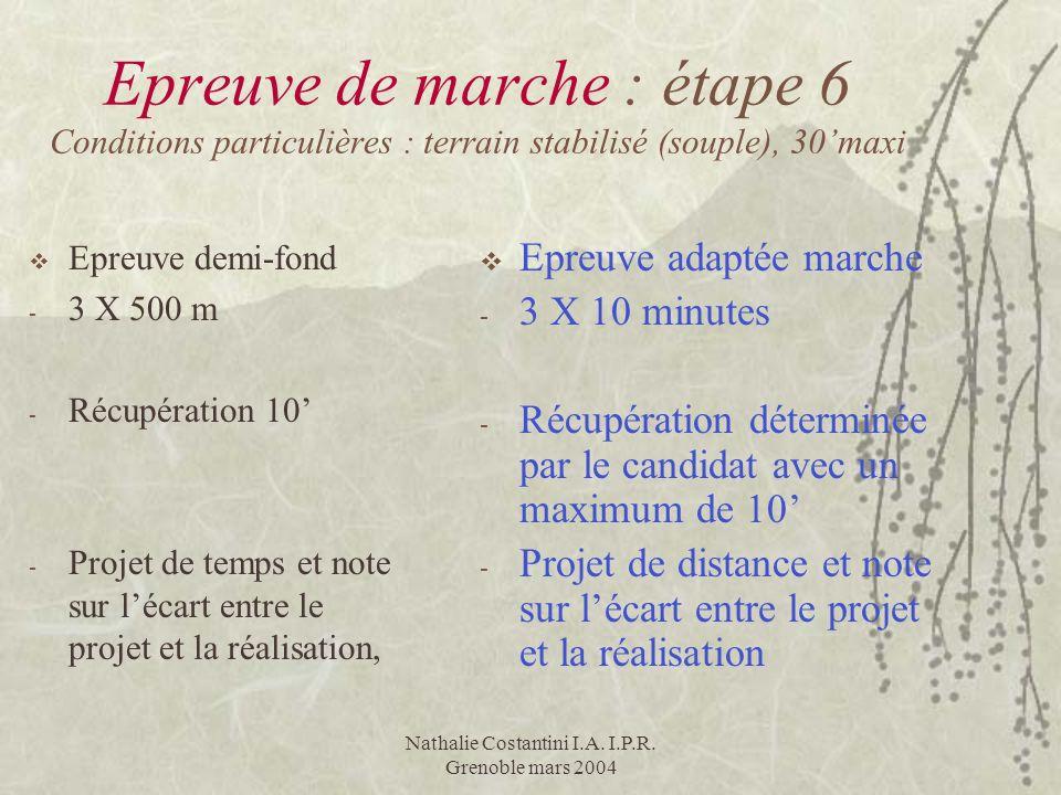 Nathalie Costantini I.A. I.P.R. Grenoble mars 2004 Epreuve de marche : étape 6 Conditions particulières : terrain stabilisé (souple), 30maxi Epreuve d