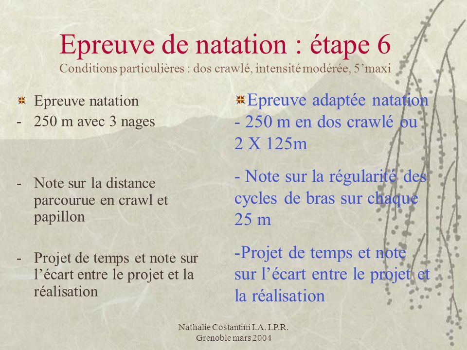 Nathalie Costantini I.A. I.P.R. Grenoble mars 2004 Epreuve de natation : étape 6 Conditions particulières : dos crawlé, intensité modérée, 5maxi Epreu