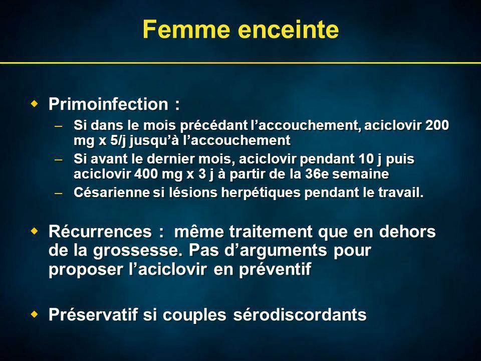 Femme enceinte Primoinfection : –Si dans le mois précédant laccouchement, aciclovir 200 mg x 5/j jusquà laccouchement –Si avant le dernier mois, aciclovir pendant 10 j puis aciclovir 400 mg x 3 j à partir de la 36e semaine –Césarienne si lésions herpétiques pendant le travail.
