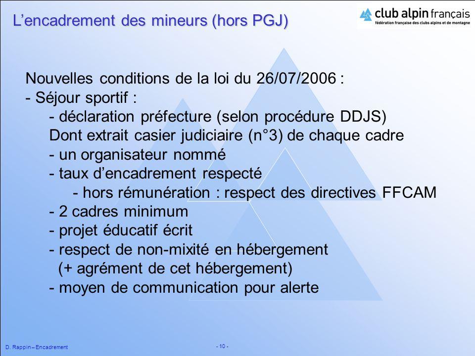 D. Rappin – Encadrement - 10 - Nouvelles conditions de la loi du 26/07/2006 : - Séjour sportif : - déclaration préfecture (selon procédure DDJS) Dont