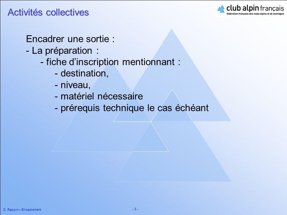 D. Rappin – Encadrement - 3 - Activités collectives Encadrer une sortie : - La préparation : - fiche dinscription mentionnant : - destination, - nivea