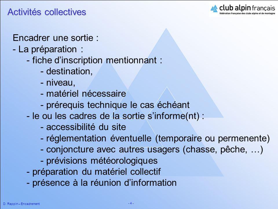 D. Rappin – Encadrement - 4 - Activités collectives Encadrer une sortie : - La préparation : - fiche dinscription mentionnant : - destination, - nivea