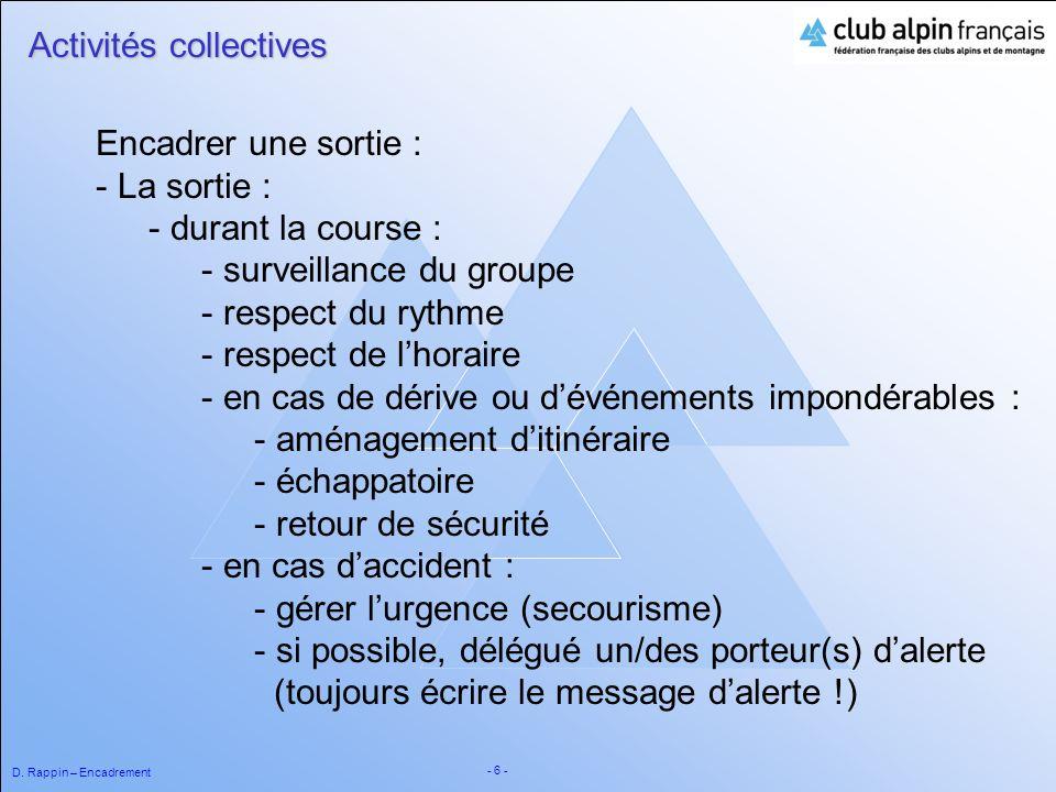 D. Rappin – Encadrement - 6 - Activités collectives Encadrer une sortie : - La sortie : - durant la course : - surveillance du groupe - respect du ryt