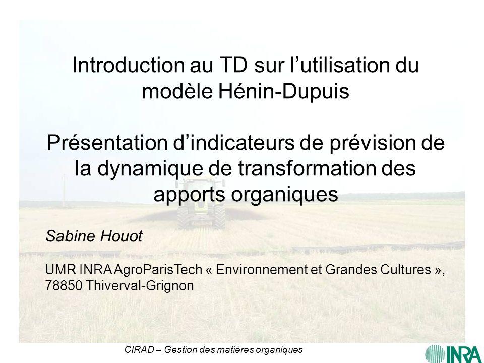 CIRAD – Gestion des matières organiques Introduction au TD sur lutilisation du modèle Hénin-Dupuis Présentation dindicateurs de prévision de la dynami