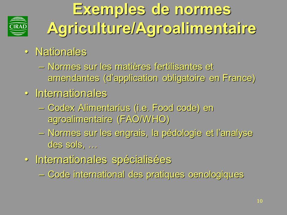 10 Exemples de normes Agriculture/Agroalimentaire NationalesNationales –Normes sur les matières fertilisantes et amendantes (dapplication obligatoire