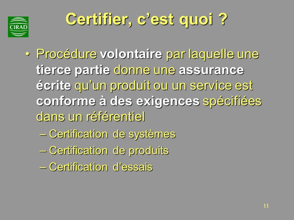 11 Certifier, cest quoi ? Procédure volontaire par laquelle une tierce partie donne une assurance écrite quun produit ou un service est conforme à des