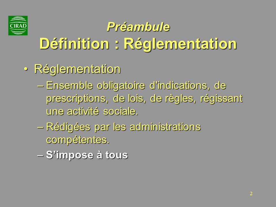 2 Préambule Définition : Réglementation RéglementationRéglementation –Ensemble obligatoire d'indications, de prescriptions, de lois, de règles, régiss