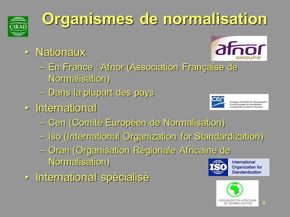9 Organismes de normalisation NationauxNationaux –En France : Afnor (Association Française de Normalisation) –Dans la plupart des pays InternationalIn