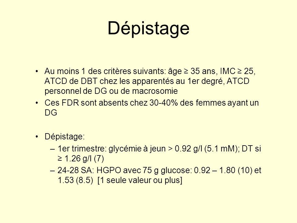Dépistage Au moins 1 des critères suivants: âge 35 ans, IMC 25, ATCD de DBT chez les apparentés au 1er degré, ATCD personnel de DG ou de macrosomie Ce