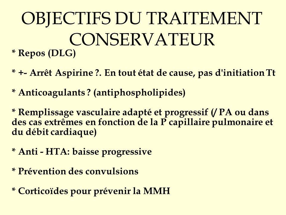 OBJECTIFS DU TRAITEMENT CONSERVATEUR * Repos (DLG) * +- Arrêt Aspirine ?. En tout état de cause, pas d'initiation Tt * Anticoagulants ? (antiphospholi