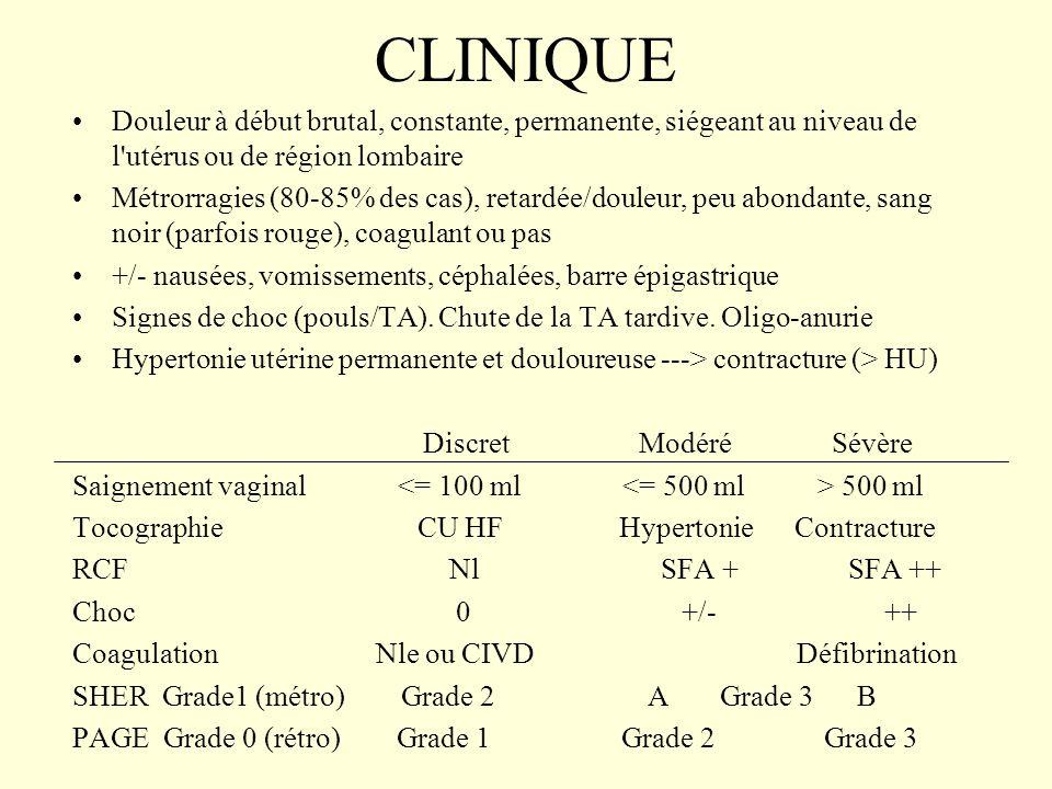 CLINIQUE Douleur à début brutal, constante, permanente, siégeant au niveau de l'utérus ou de région lombaire Métrorragies (80-85% des cas), retardée/d