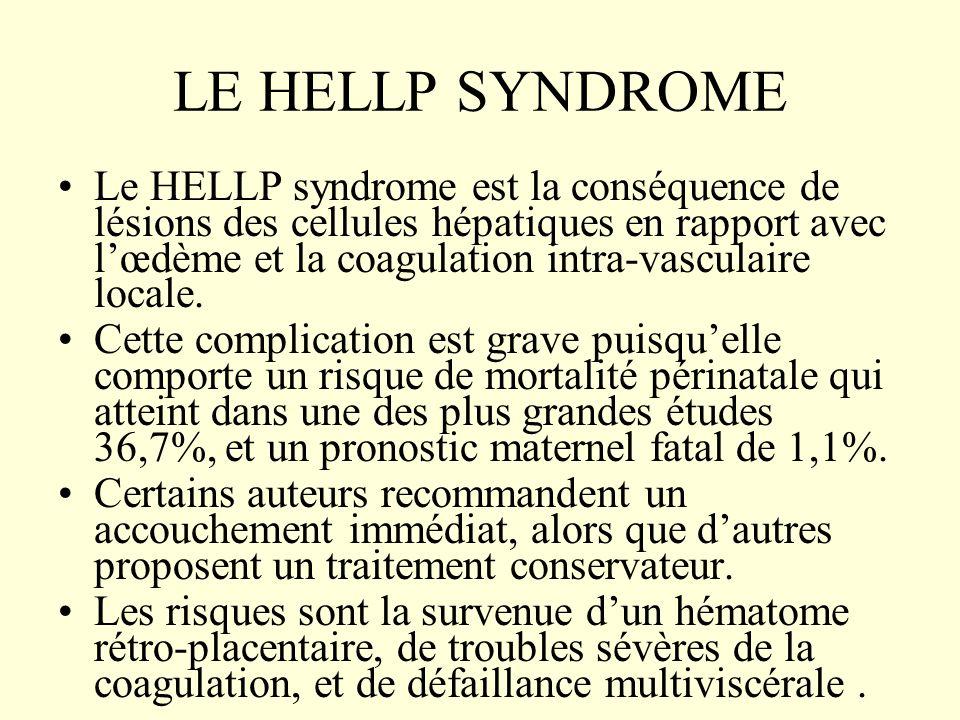 LE HELLP SYNDROME Le HELLP syndrome est la conséquence de lésions des cellules hépatiques en rapport avec lœdème et la coagulation intra-vasculaire lo