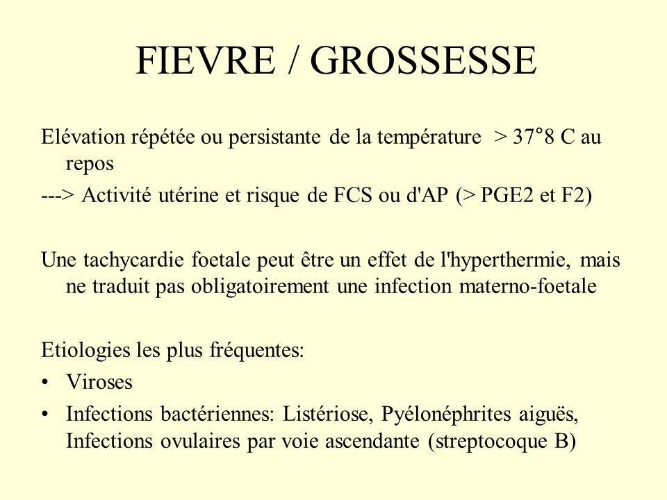FIEVRE / GROSSESSE Elévation répétée ou persistante de la température > 37°8 C au repos ---> Activité utérine et risque de FCS ou d'AP (> PGE2 et F2)
