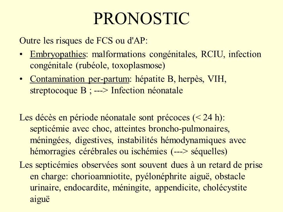 PRONOSTIC Outre les risques de FCS ou d'AP: Embryopathies: malformations congénitales, RCIU, infection congénitale (rubéole, toxoplasmose) Contaminati