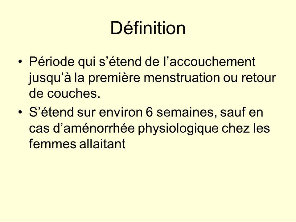 Définition Période qui sétend de laccouchement jusquà la première menstruation ou retour de couches. Sétend sur environ 6 semaines, sauf en cas daméno