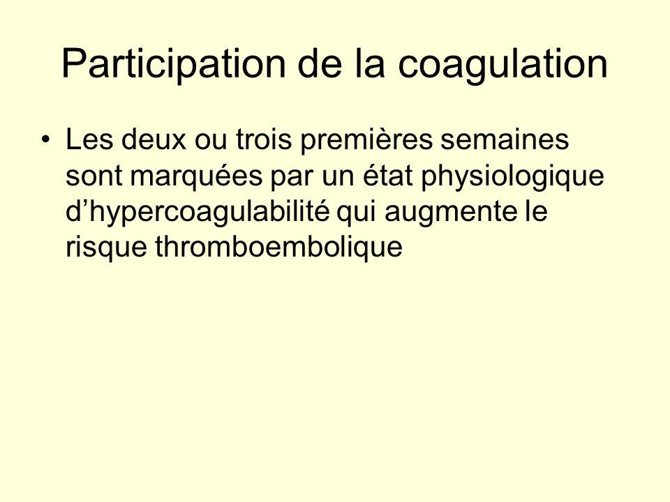 Participation de la coagulation Les deux ou trois premières semaines sont marquées par un état physiologique dhypercoagulabilité qui augmente le risqu