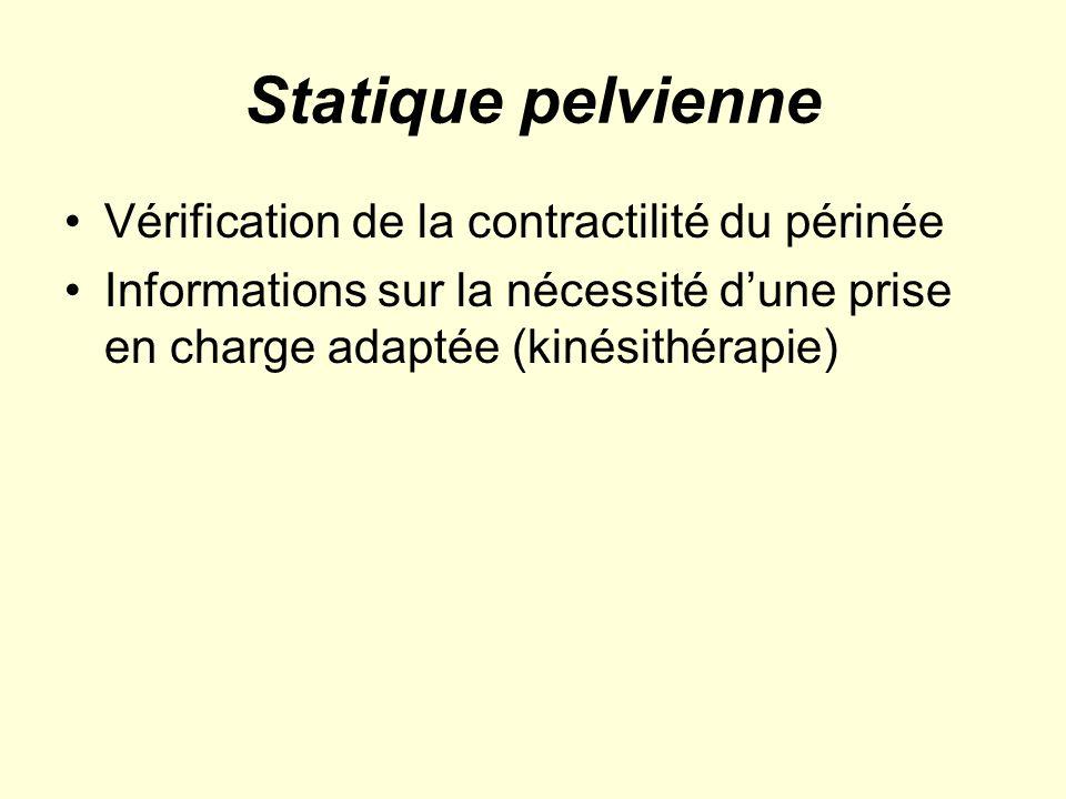 Statique pelvienne Vérification de la contractilité du périnée Informations sur la nécessité dune prise en charge adaptée (kinésithérapie)