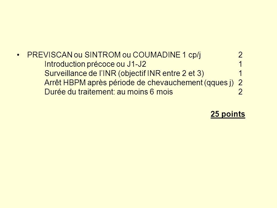 PREVISCAN ou SINTROM ou COUMADINE 1 cp/j2 Introduction précoce ou J1-J21 Surveillance de lINR (objectif INR entre 2 et 3)1 Arrêt HBPM après période de