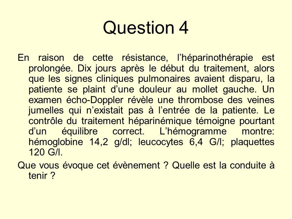 Question 4 En raison de cette résistance, lhéparinothérapie est prolongée. Dix jours après le début du traitement, alors que les signes cliniques pulm