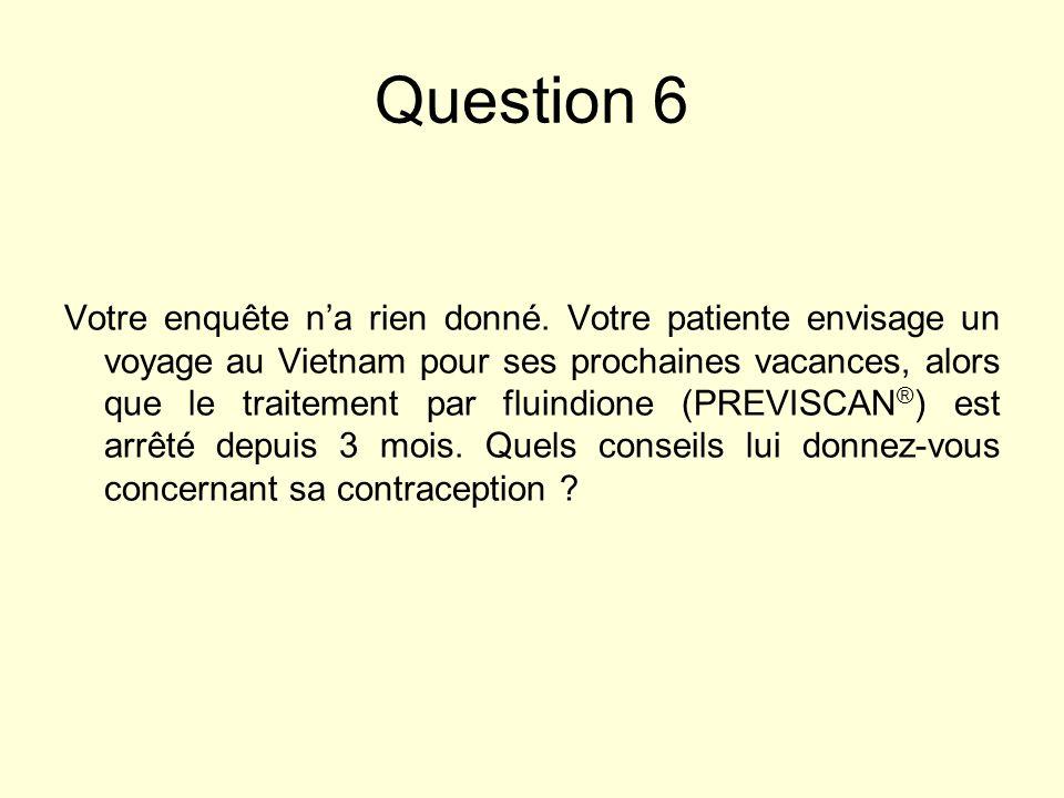 Question 6 Votre enquête na rien donné. Votre patiente envisage un voyage au Vietnam pour ses prochaines vacances, alors que le traitement par fluindi