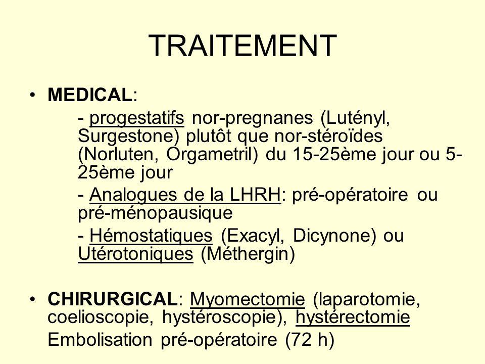 TRAITEMENT MEDICAL: - progestatifs nor-pregnanes (Lutényl, Surgestone) plutôt que nor-stéroïdes (Norluten, Orgametril) du 15-25ème jour ou 5- 25ème jo