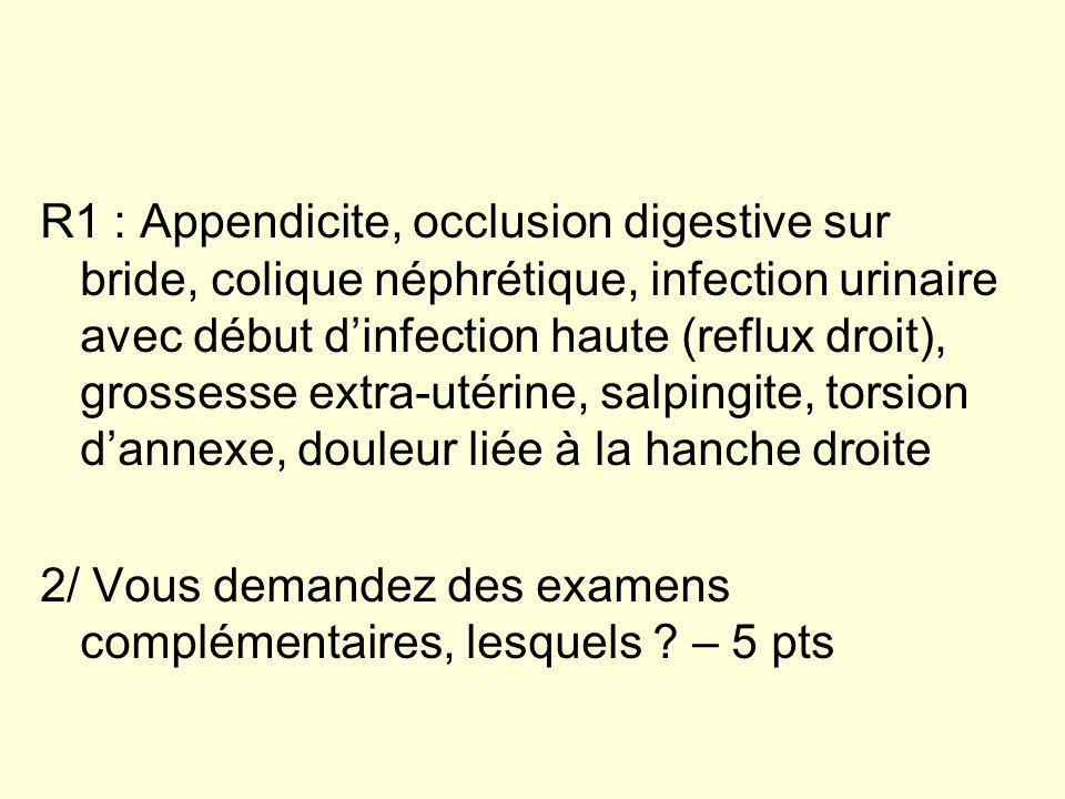 R1 : Appendicite, occlusion digestive sur bride, colique néphrétique, infection urinaire avec début dinfection haute (reflux droit), grossesse extra-u