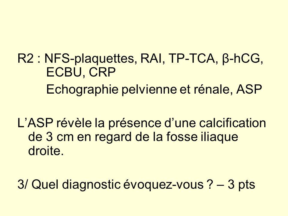 R2 : NFS-plaquettes, RAI, TP-TCA, β-hCG, ECBU, CRP Echographie pelvienne et rénale, ASP LASP révèle la présence dune calcification de 3 cm en regard d