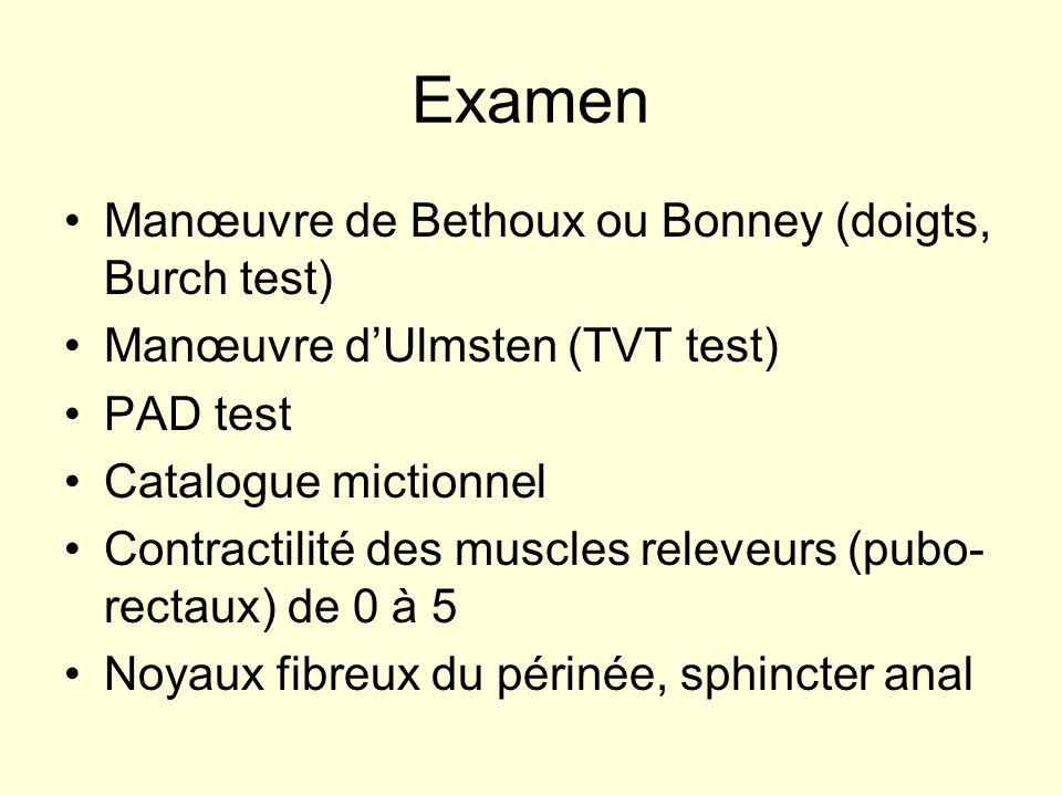 Examen Manœuvre de Bethoux ou Bonney (doigts, Burch test) Manœuvre dUlmsten (TVT test) PAD test Catalogue mictionnel Contractilité des muscles releveu