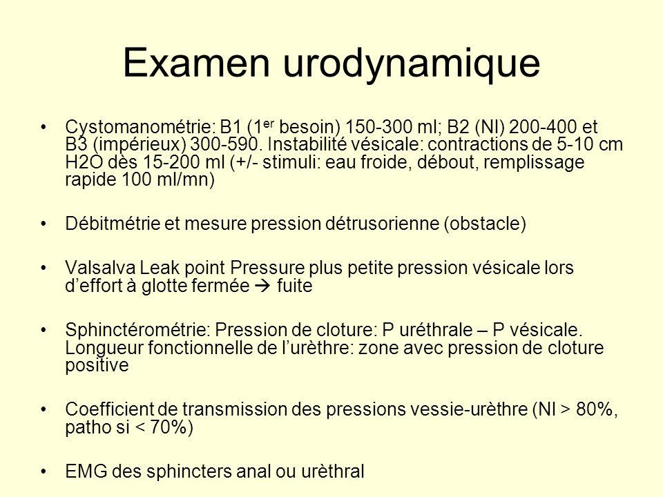 Examen urodynamique Cystomanométrie: B1 (1 er besoin) 150-300 ml; B2 (Nl) 200-400 et B3 (impérieux) 300-590. Instabilité vésicale: contractions de 5-1