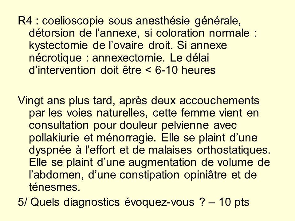 R4 : coelioscopie sous anesthésie générale, détorsion de lannexe, si coloration normale : kystectomie de lovaire droit. Si annexe nécrotique : annexec