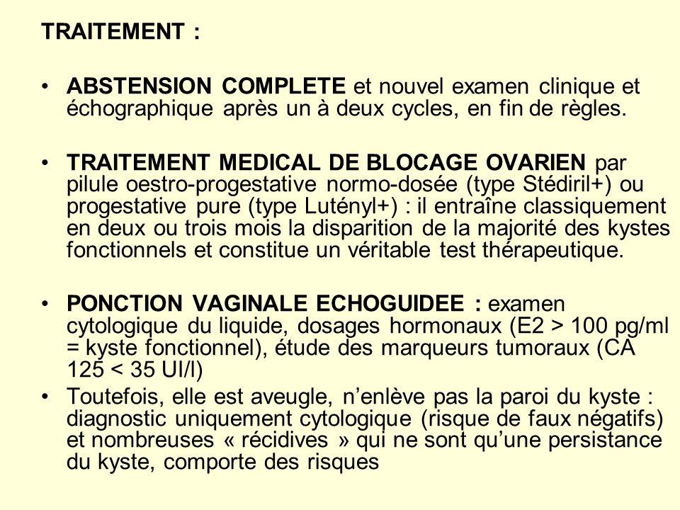 TRAITEMENT : ABSTENSION COMPLETE et nouvel examen clinique et échographique après un à deux cycles, en fin de règles. TRAITEMENT MEDICAL DE BLOCAGE OV