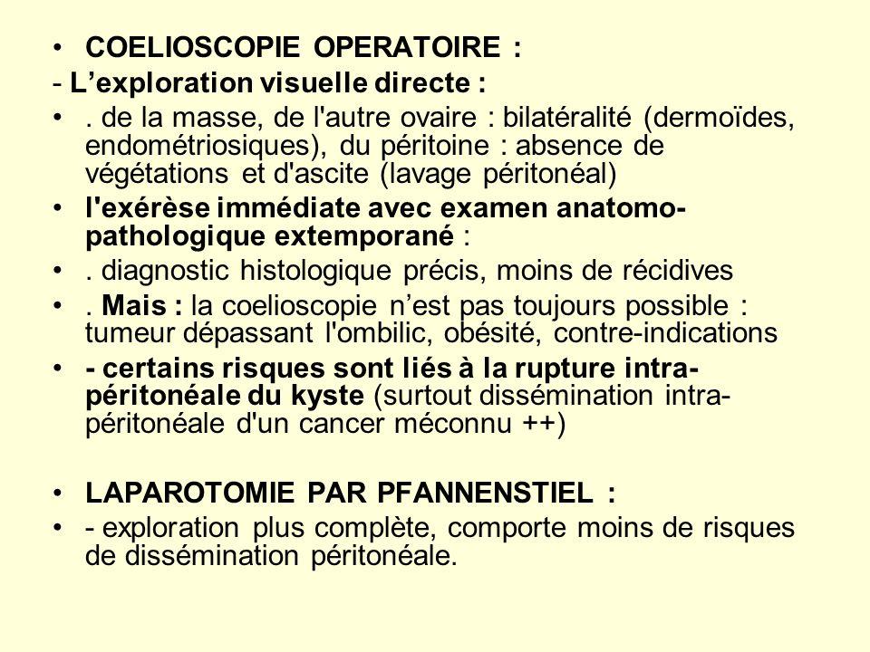 COELIOSCOPIE OPERATOIRE : - Lexploration visuelle directe :. de la masse, de l'autre ovaire : bilatéralité (dermoïdes, endométriosiques), du péritoine