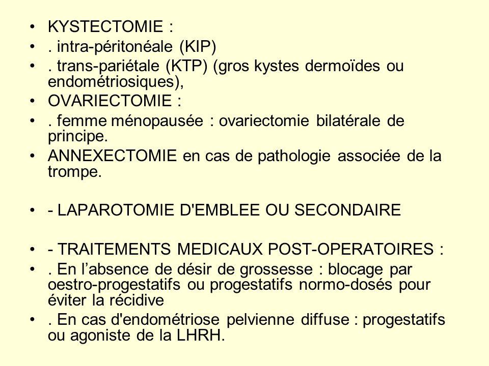 KYSTECTOMIE :. intra-péritonéale (KIP). trans-pariétale (KTP) (gros kystes dermoïdes ou endométriosiques), OVARIECTOMIE :. femme ménopausée : ovariect