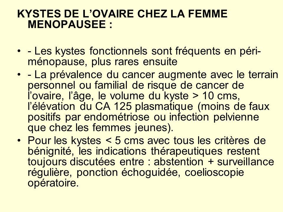 KYSTES DE LOVAIRE CHEZ LA FEMME MENOPAUSEE : - Les kystes fonctionnels sont fréquents en péri- ménopause, plus rares ensuite - La prévalence du cancer