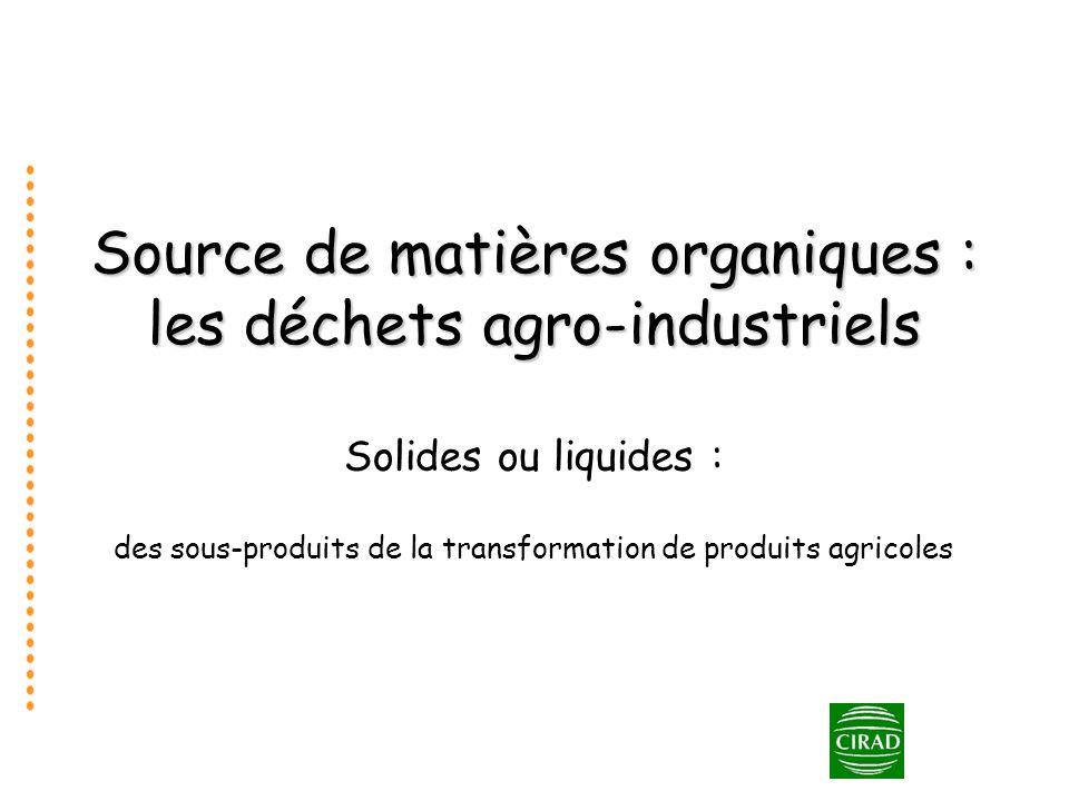 Source de matières organiques : les déchets agro-industriels Solides ou liquides : des sous-produits de la transformation de produits agricoles
