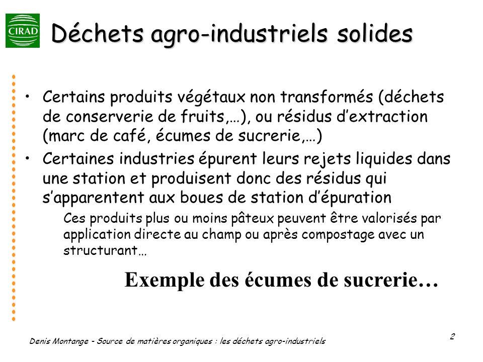 Denis Montange - Source de matières organiques : les déchets agro-industriels 2 Déchets agro-industriels solides Certains produits végétaux non transf