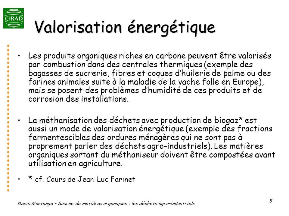 Denis Montange - Source de matières organiques : les déchets agro-industriels 5 Valorisation énergétique Les produits organiques riches en carbone peu