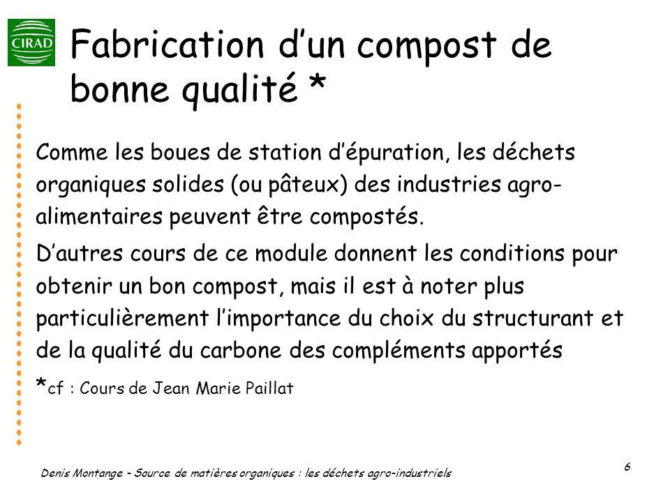 Denis Montange - Source de matières organiques : les déchets agro-industriels 6 Fabrication dun compost de bonne qualité * Comme les boues de station