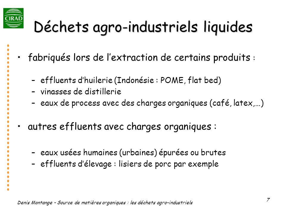 Denis Montange - Source de matières organiques : les déchets agro-industriels 7 Déchets agro-industriels liquides fabriqués lors de lextraction de cer
