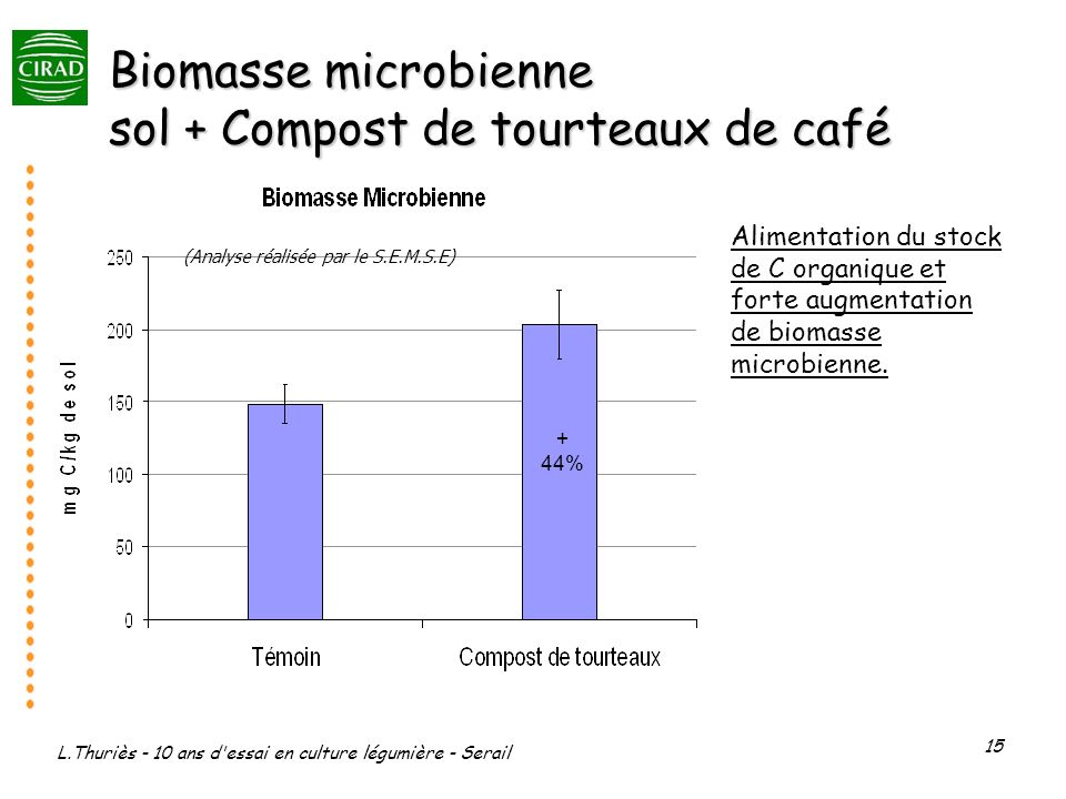 L.Thuriès - 10 ans d'essai en culture légumière - Serail 15 Biomasse microbienne sol + Compost de tourteaux de café + 44% (Analyse réalisée par le S.E