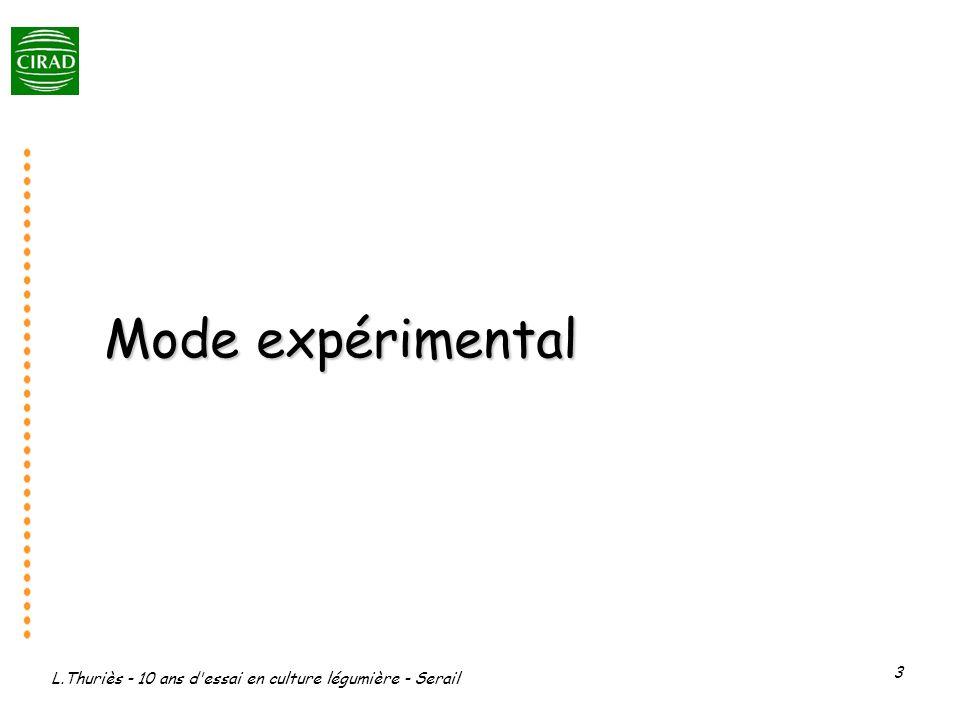 L.Thuriès - 10 ans d essai en culture légumière - Serail 3 Mode expérimental