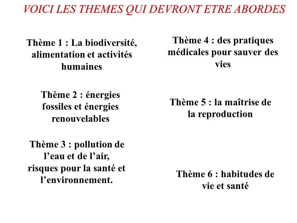 VOICI LES THEMES QUI DEVRONT ETRE ABORDES Thème 1 : La biodiversité, alimentation et activités humaines Thème 2 : énergies fossiles et énergies renouv