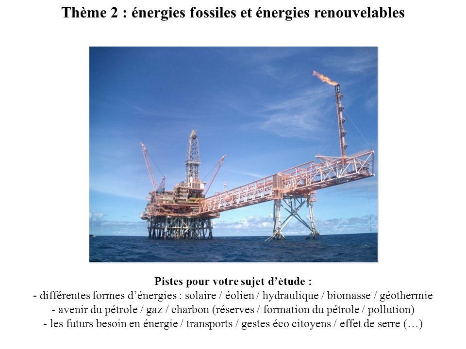 Thème 2 : énergies fossiles et énergies renouvelables Pistes pour votre sujet détude : - différentes formes dénergies : solaire / éolien / hydraulique