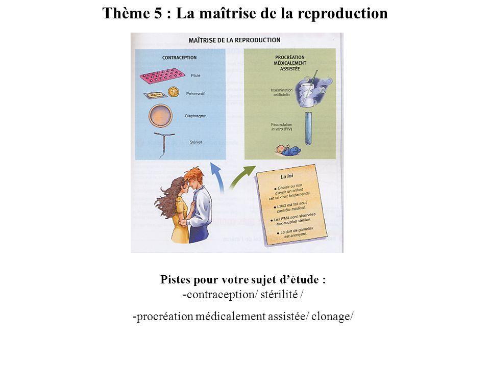 Thème 5 : La maîtrise de la reproduction Pistes pour votre sujet détude : -contraception/ stérilité / -procréation médicalement assistée/ clonage/