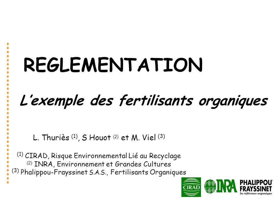 REGLEMENTATION Lexemple des fertilisants organiques L. Thuriès (1), S Houot (2) et M. Viel (3) (1) CIRAD, Risque Environnemental Lié au Recyclage (2)